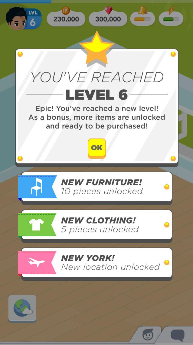 Mobile game UI mockup